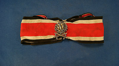 Ww2 German Knight Cross Neck Ribbon Complete With Oak Leaves With Swords, Silver