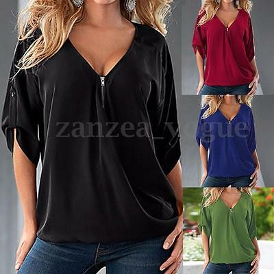 Womens Loose Zip V Neck Short Sleeve T-Shirts Blouse Tee Casual Tops Black AU 20