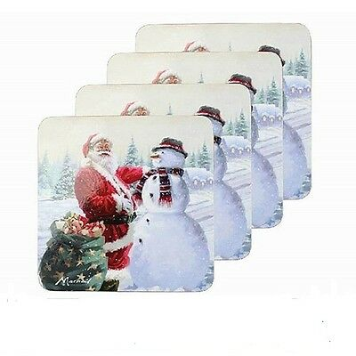 Set 4 Macneil Christmas  Santa Snowman  Drinks Coasters lp91882