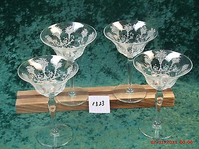 4 Vintage Low Sherbet Goblets In Shirley Pattern By Fostoria