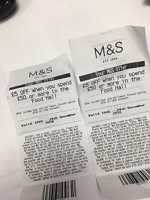 2 X M&s £5 Off Vouchers Spend £50 19-24 Dec Food Hall Wine Flowers Marks Spencer