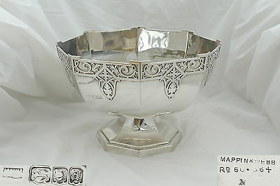 Rare George V Hm Sterling Silver Octagonal Punch Bowl 1916