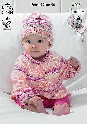 King Cole Knitting Pattern Blanket, Cardigan and Hat in King Cole DK (4007)