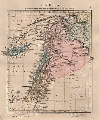1828 Antique Arrowsmith Hand Coloured Map Syria  Ancient