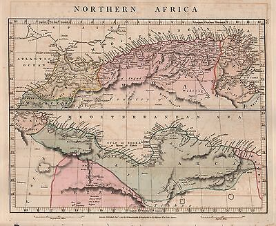 1828 Antique Arrowsmith Hand Coloured Map Northern Africa