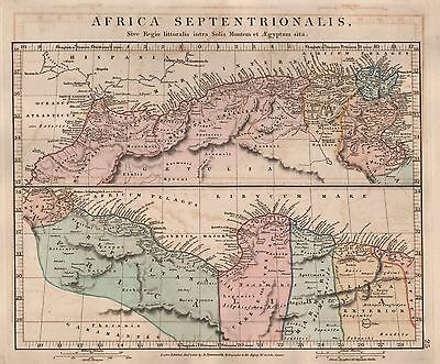1828 Antique Arrowsmith Hand Coloured Map Africa Septentrionalis