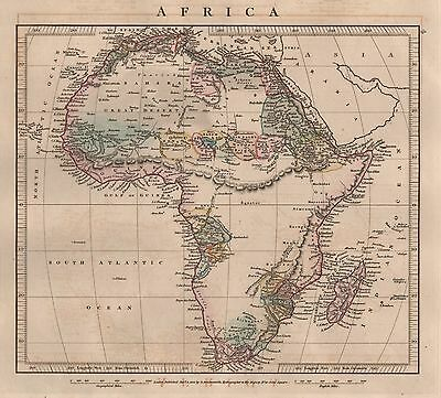 1828 Antique Arrowsmith Hand Coloured Map Africa