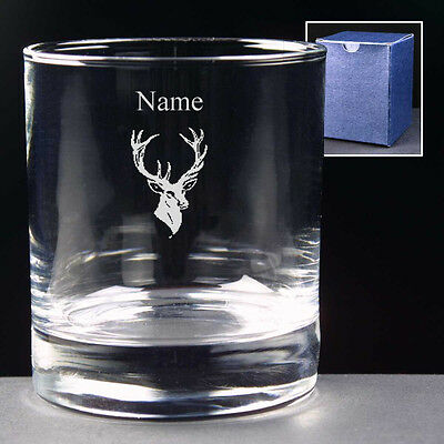 Personalised STAG 10oz Whisky Glass FREE ENGRAVING Gift NEW Whiskey Wedding Gift
