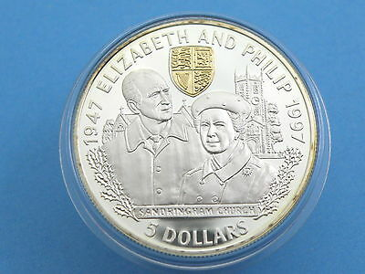 BELIZE - 1997 SILVER PROOF FIVE DOLLAR $5 CROWN COIN + Gold Cameo