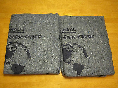 "Lot Of 2 Used Uhaul Moving Blankets - 84"" X 69"""