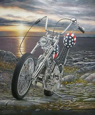 Easy Rider Harley Chopper Signed Ltd Edition MOTORCYCLE ART Print by Guillemette