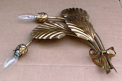 Vintage Italian 2 Bulbs, Gold Metal Leaf Sconce, Wall Hanging, Electrics, 3Leafs