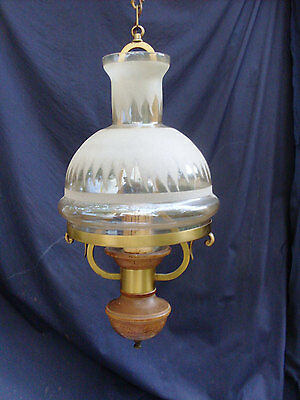 VINTAGE Chandelier Electric Style Oil Lamp, w Brass, Wood & Opaque White Glass