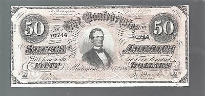 $50 CSA 1864 Confederate Currency T66 Bank Note Jeff Davis #70744