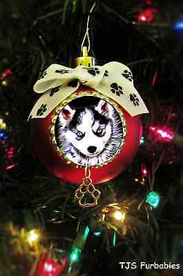 """""""Siberian Husky Puppy"""" Christmas Ball Ornament Pet Lovers Gifts by TJS Furbabies"""