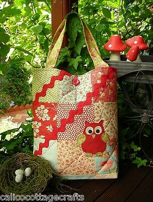 Hiccups Owl Applique Pieced  Bag Sewing Craft - PATTERN ONLY
