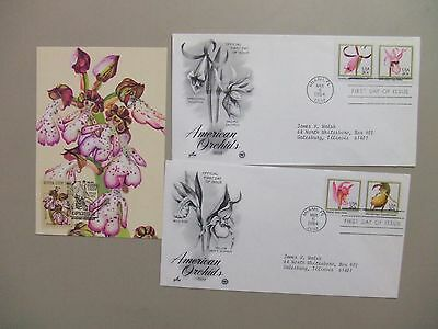 Three ORCHIDS fdc+maxi card