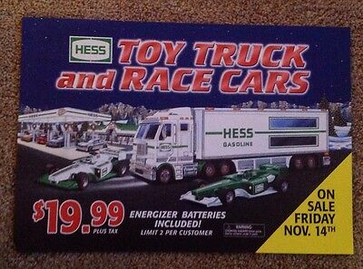 2003 Hess Toy Truck and Race CarsAdvertising Poster sign