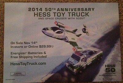 2014 Hess Toy Truck and Space cruiser Advertising Poster sign