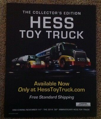2014 Hess Toy Truck 50th Anniversary Advertising Poster sign