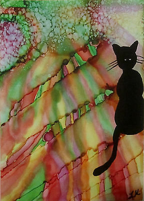 Aceo giclee PRINT art card black cat colorful limited edition
