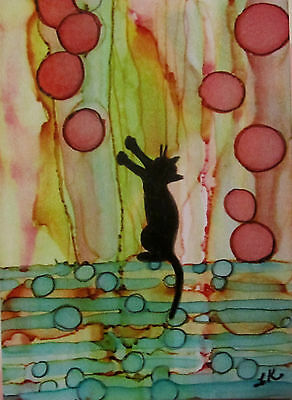 Aceo giclee PRINT art card black cat pink bubbles limited edition