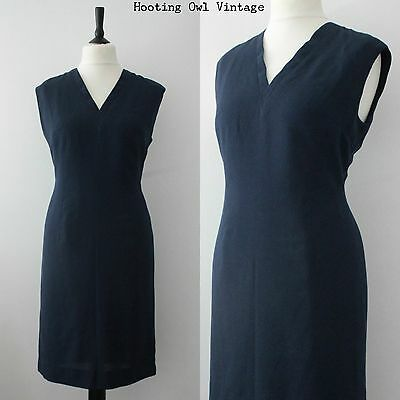 Vintage 1960S Navy Mod Dress Retro Scooter Gogo Shift Casual Office Day Blue M