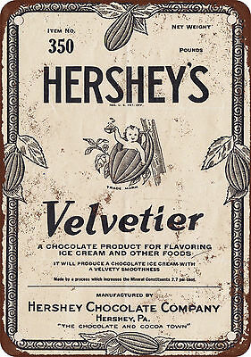 1928 Hershey's Velvetier Chocolate Syrup Vintage Look Reproduction Metal Sign