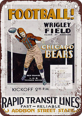 1929 Chicago Bears Schedule Vintage Look Reproduction Metal Sign