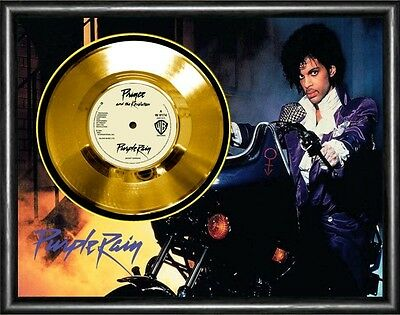 Prince Purple Rain Framed Gold Disc Display ( Large A3 Size )