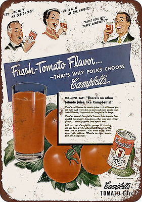 1949 Tomato Juice Vintage Look Reproduction Metal Sign