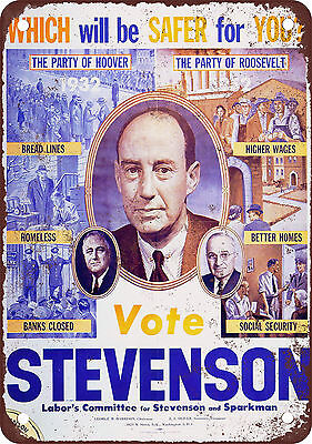 1952 Vote Stevenson Vintage Look Reproduction Metal Sign