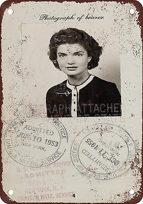 1953 Jackie Kennedy Passport Vintage Look Reproduction Metal Sign
