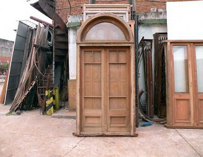Double Glass Door with Shutters & Transom #B1870