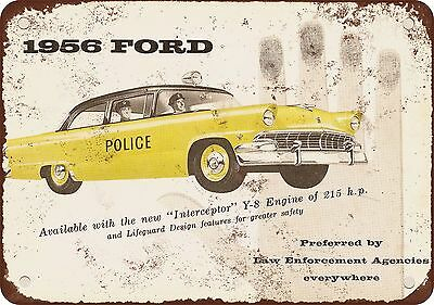 1956 Ford Police Cars Vintage Look Reproduction Metal Sign