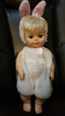 "15"" Horseman Doll with Bunny Outfit Rubber w blinking eyes"