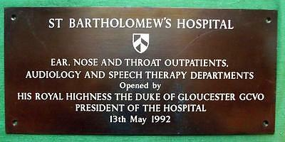Genuine Brass Vintage Antique Sign Plaque : St Barts Batholomew's Hospital