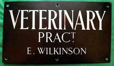 Genuine Brass Vintage Antique Sign Plaque : E Wilkinson Veterinary Surgeon