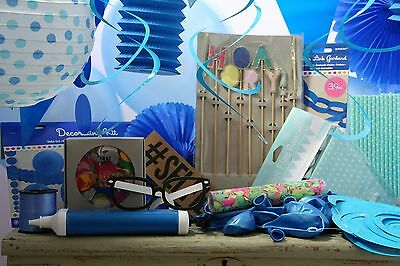 Ultimate Blue Theme Fun Party Box Photo Booth & Decor Pack Bunting Balloons