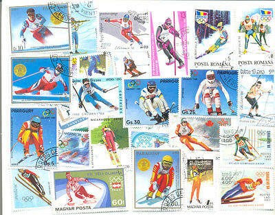 Ski-ing 50 all different collection stamps large-medium