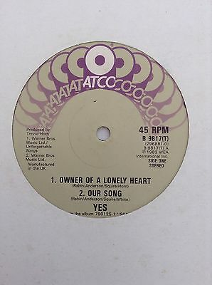 """YES: OWNER OF A LONELY HEART 1983 Atco 12"""" vinyl single (B9817)   3 tracks"""
