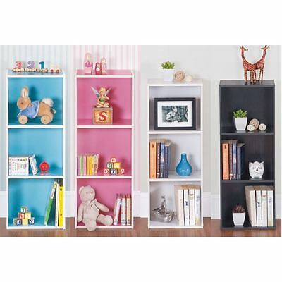 3 Tier Wooden Coloured Bookcase Storage Shelf Display Unit Pink Blue White Black