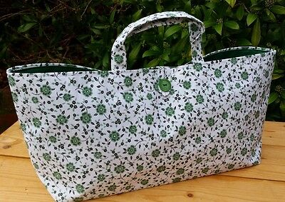 Knitting or Crochet Bag in Green/White Printed Cotton, Green Lining, Hand Made