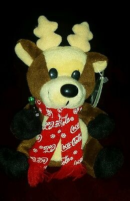 NWT Collectible Coca Cola Reindeer Bean Bag Plush Stuffed Animal  1998