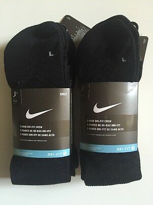 Nike Golf Men's Crew Sock Black UK Foot Size 8-11 Clearance 6 Pack Deal SG0382