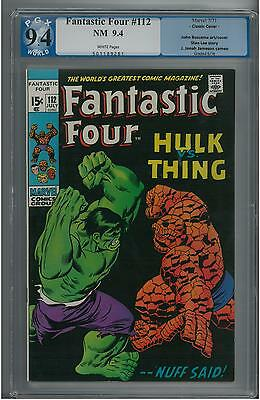 Fantastic Four #112 PGX 9.4  Hulk vs Thing Battle Cover!  White Pages!