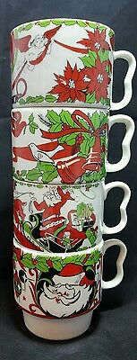 Mid Century Modern Stackable Christmas Coffee Mugs Set of Four