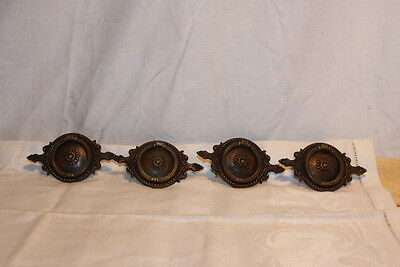 Antique Solid Bronze Keeler (4) Drawer Ring Pulls Empire Neoclassical