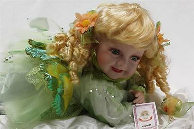 """Collectible Porcelain Blond Hair Crawling Fairy Baby Doll 22"""" Green Dress"""