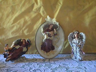 set of 2 angel figurines and 1 angel wall plaque